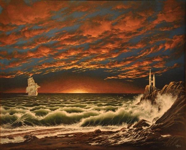 Coucher De Soleil Sur La Mer By Sylvain Lanci 2013 Painting