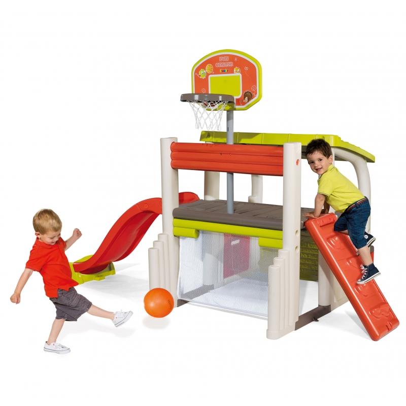 Smoby Wielofunkcyjny Plac Zabaw Zjeżdżalnia Domek z daszkiem i koszykówką