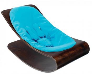 BLOOM Leżaczek drewniany Coco cappucino z niebieskim BBE10601C