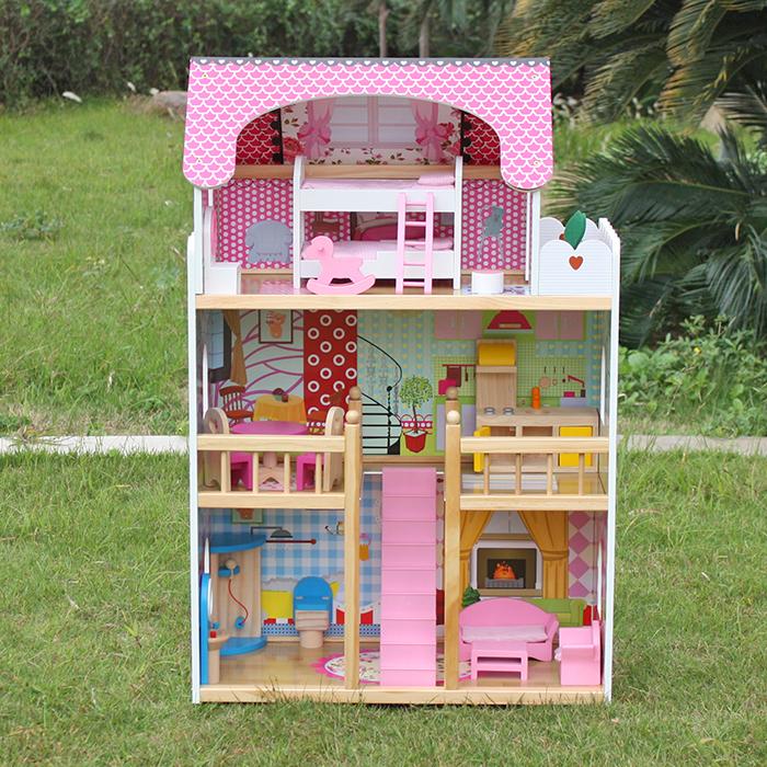 NDL 2263 Domek dla lalek Drewniany Melisa Piętrowy Różówy