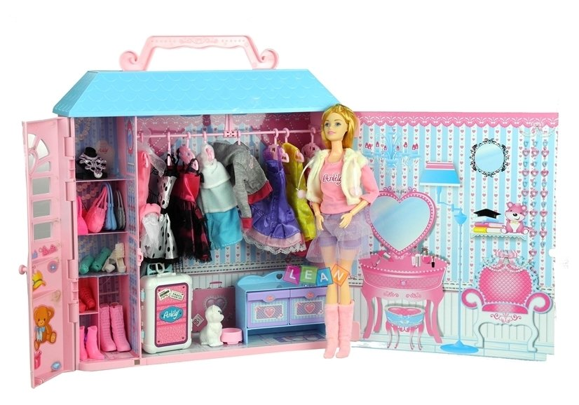 Garderoba Domek dla Lalki z Sukienkami Szafa