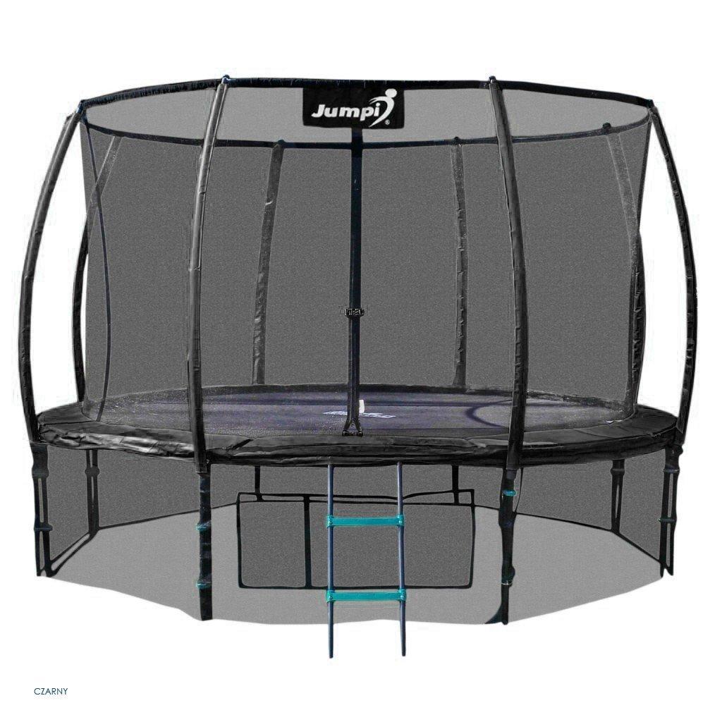 Trampolina Ogrodowa 374cm/12ft czarna Maxy Comfort PLUS Z Wewnętrzną siatką