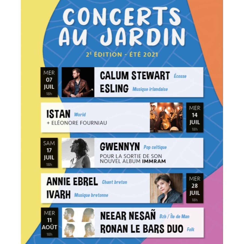 Concerts au jardin de l'Evêché à Quimper avec Lenn Production