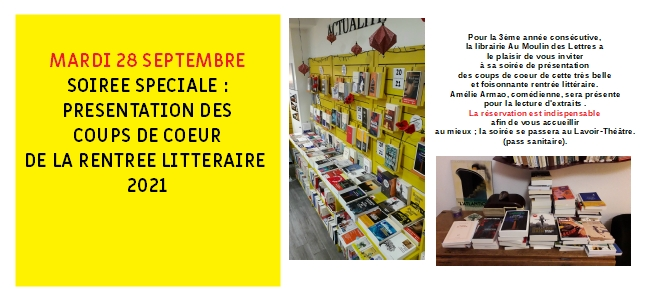 """SOIREE SPECIALE """"RENTREE LITTERAIRE"""" 2021"""