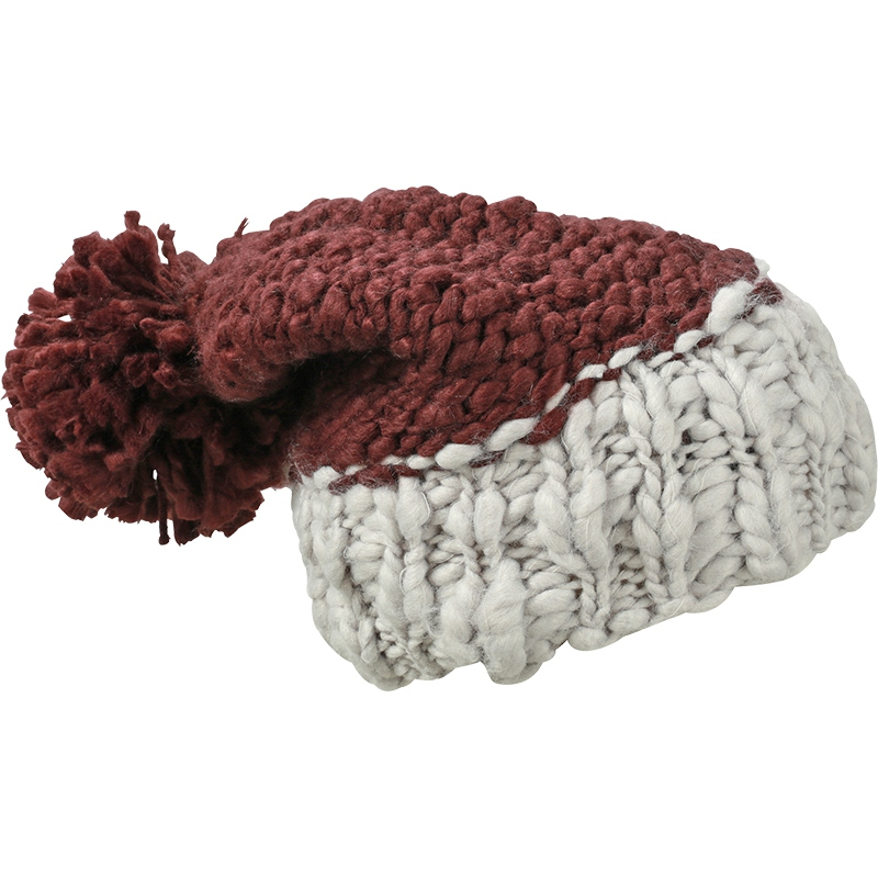 Bonnet publicitaire bicolore à pompon, rouge et gris glacier.