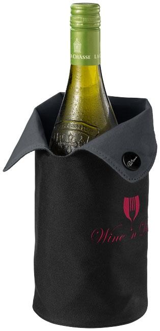 Housse refroidisseur à vin publicitaire Noron, blanc et noir