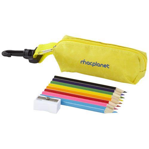 Trousse personnalisée avec crayons de couleur Kori - jaune