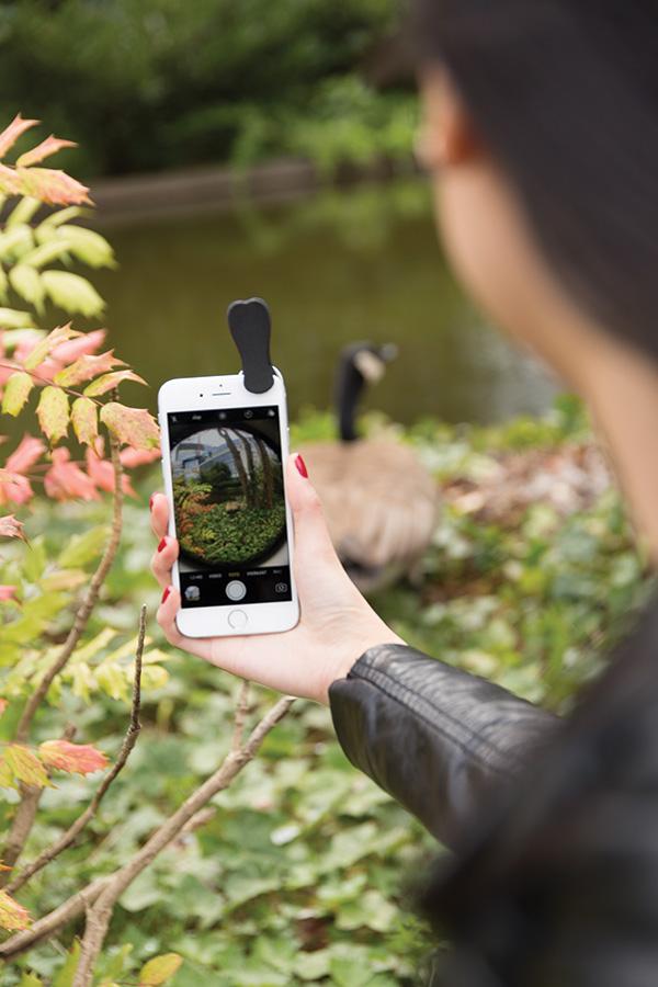 Cadeau publicitaire - Clip lentille fish-eye Globe pour smartphone