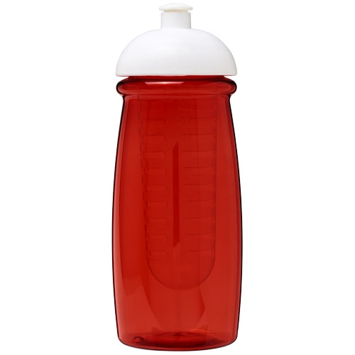 Bouteille de sport en plastique - Gourde sport publicitaire et infuseur H2O Pulse® 600 ml avec couvercle dôme