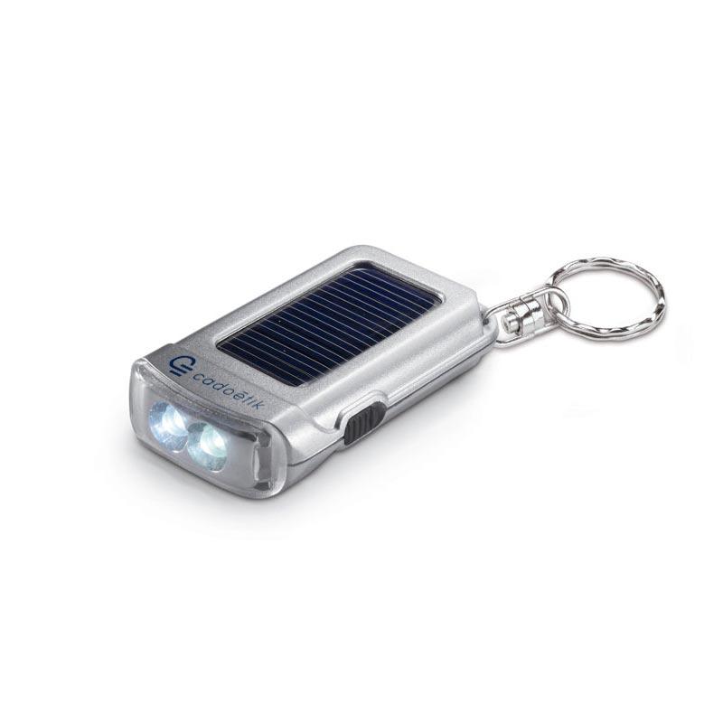 Porte-clés publicitaire avec torche solaire