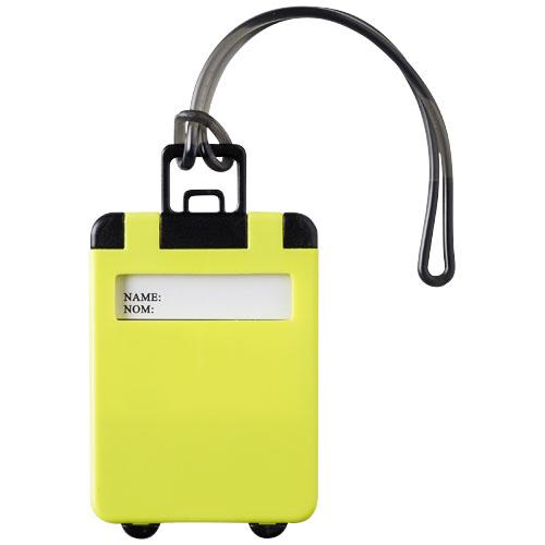 Etiquette publicitaire Objet publicitaire de voyage - Etiquette à bagage publicitaire Taggy - neon vert
