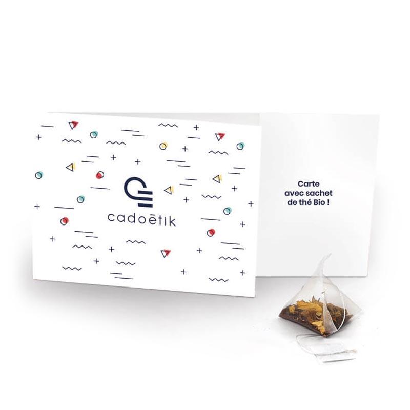 épices publicitaires - Carte  avec sachet de Thé Bio