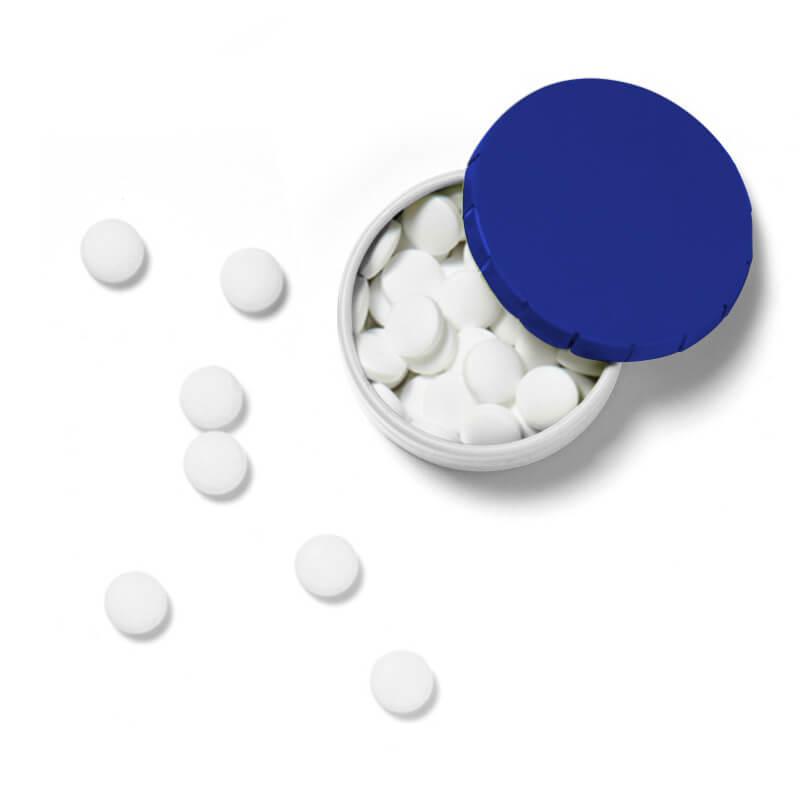 Boîte clic clac de pastilles menthe argent - Bonbons publicitaires