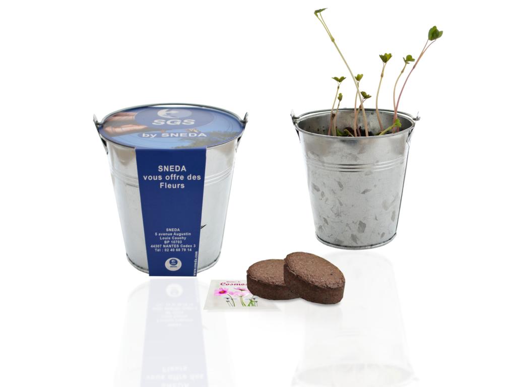 Kit de semis en pot zinc - Kit de plantation publicitaire