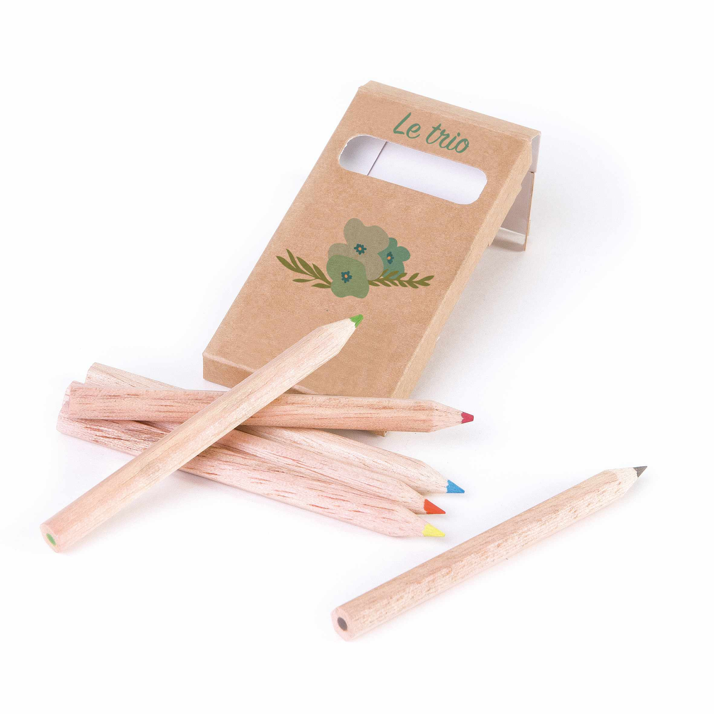 Goodies made in France - étui de 6 crayons de couleur promotionnel Eco 8,7 cm