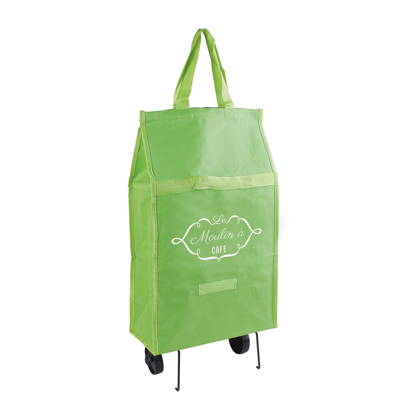 Sac shopping publicitaire - Chariot caddie publicitaire à roulettes - vert