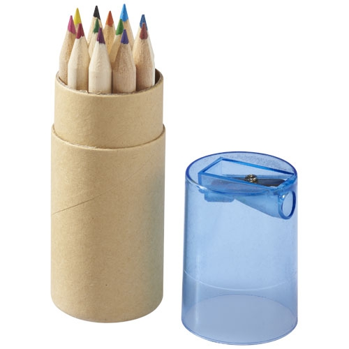 Crayons de couleur publicitaires écologiques - Set de 12 crayons de couleur Joan