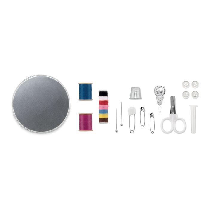 objet publicitaire - Set de couture publicitaire boîte ronde en fer blanc Cucire