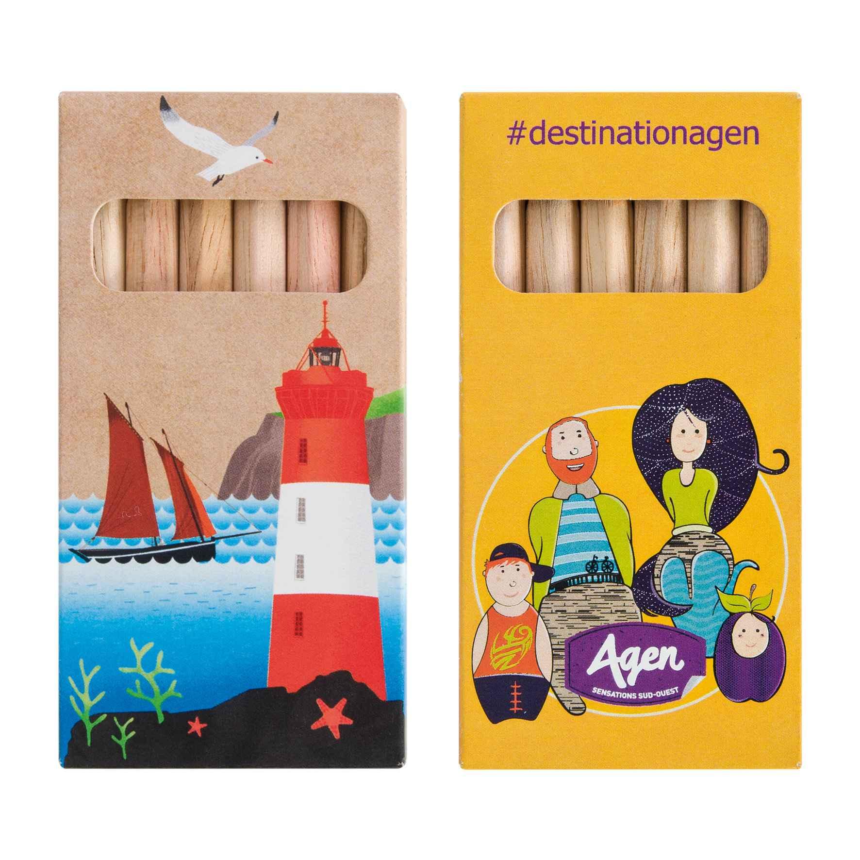 Goodies enfants - étui de 6 crayons de couleur publicitaires Eco 8,7 cm
