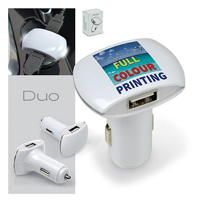 Chargeur de voiture publicitaire double USB DUO