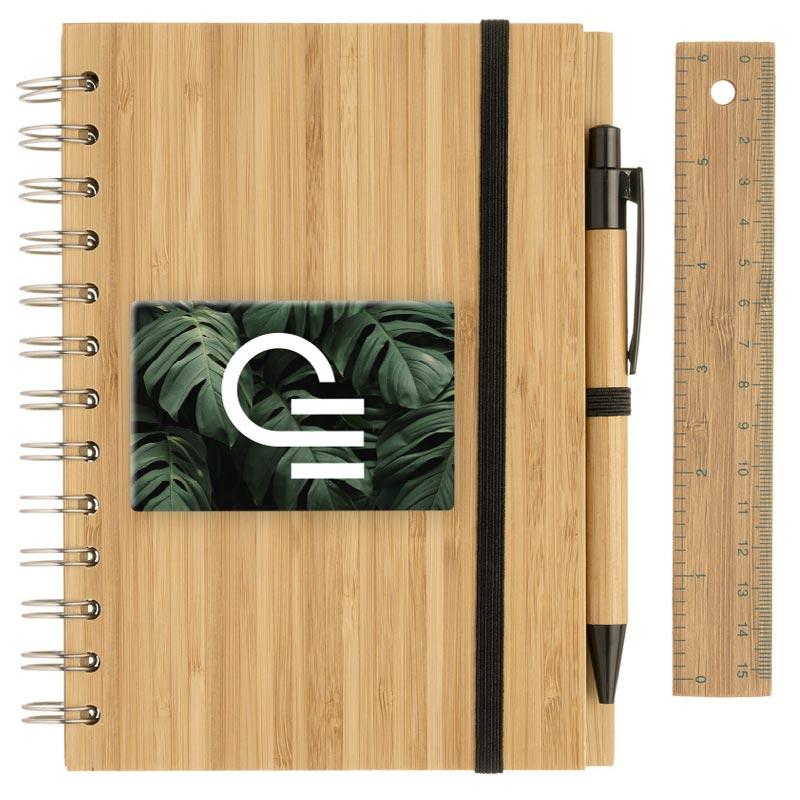 Carnet à spirale avec couverture en bambou et stylo Franklin - Doming