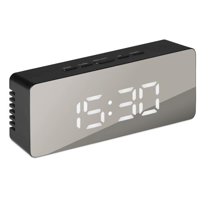 Cadeau publicitaire - Horloge personnalisée miroir avec LED blanc San Francisco