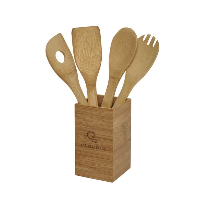 Objet publicitaire en bois - Ustensiles de cuisine en bambou Timber