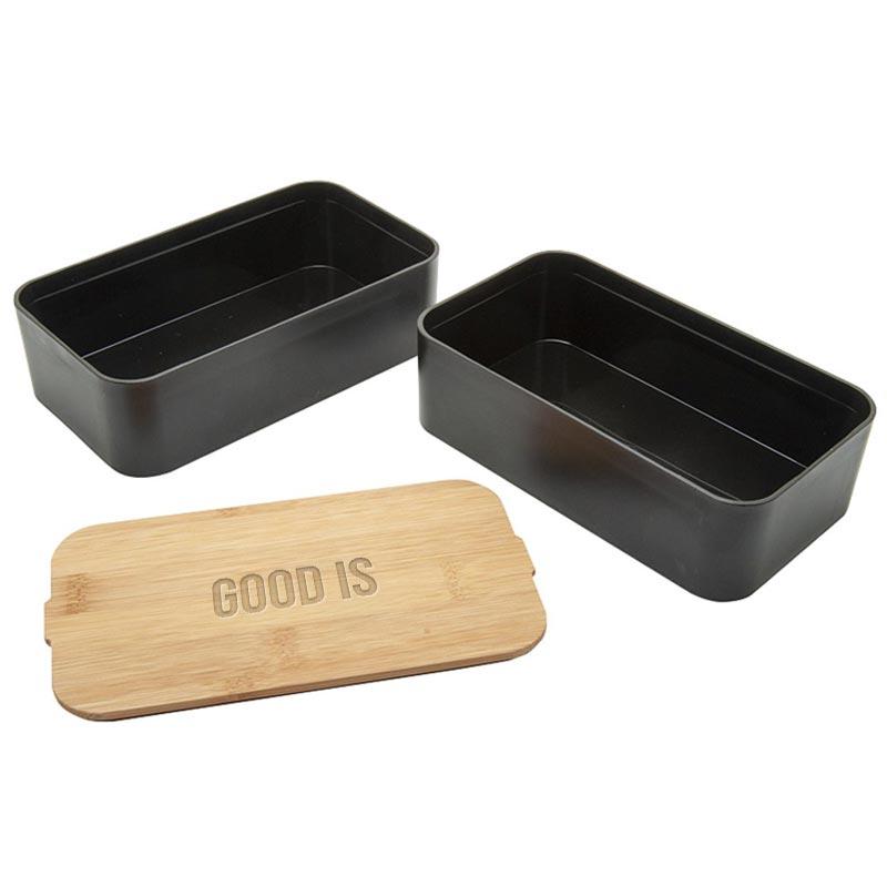 bento avec couvercle en bambou mihara - lunch box publicitaire