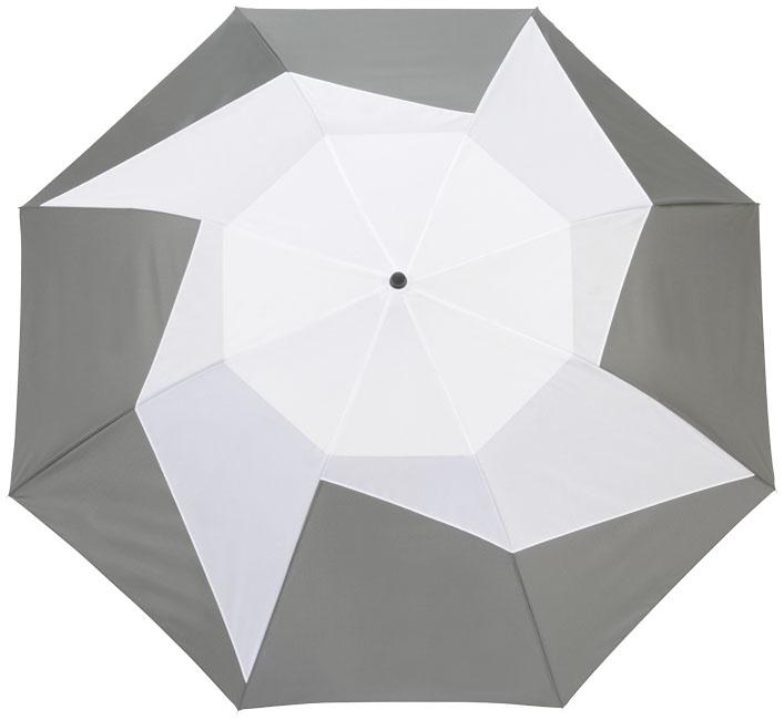"""Parapluie personnalisé à ouverture automatique 2 sections 23"""" Pinwheel gris et blanc"""