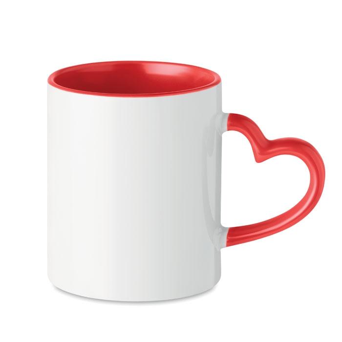 Mug publicitaire anses coeur 300 ml Sublim Red - mug sublimation