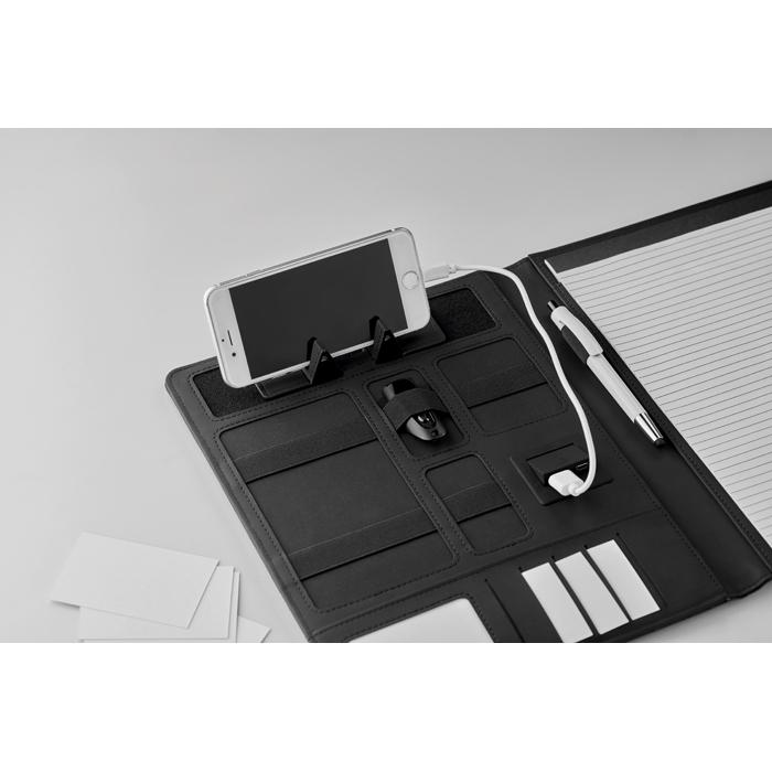 Cadeau publicitaire - Conférencier A4 personnalisé et powerbank Powerfoldy
