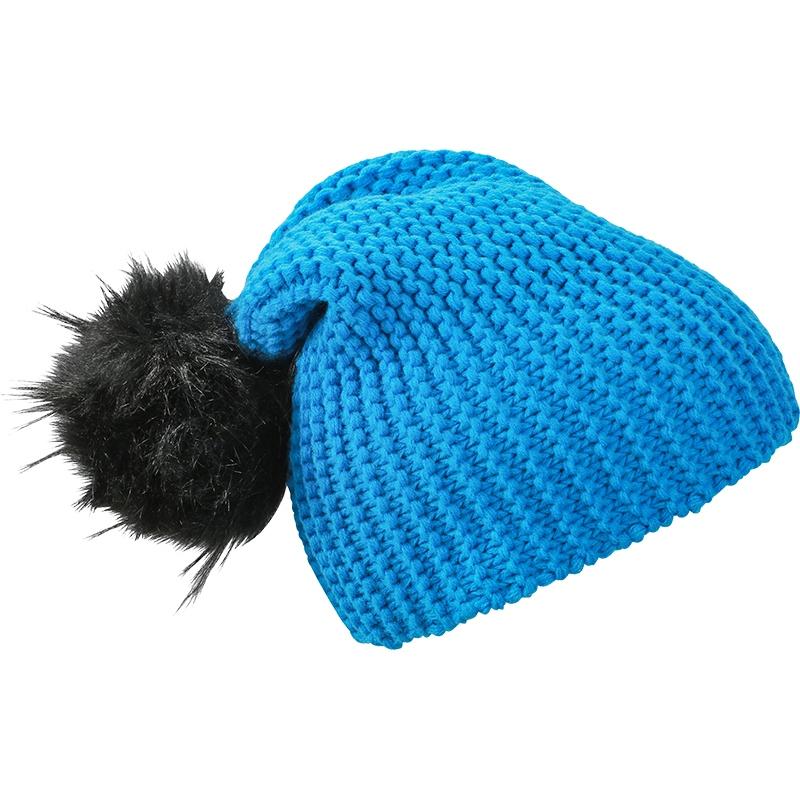 Bonnet publicitaire Chick bleu et pompon noir