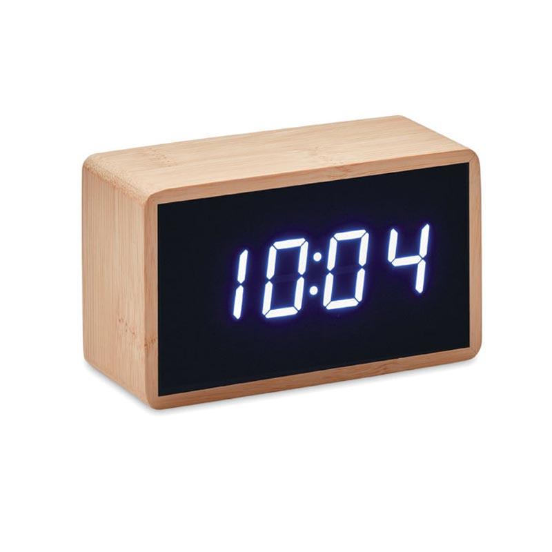 réveil publicitaire en bambou miri clock - face
