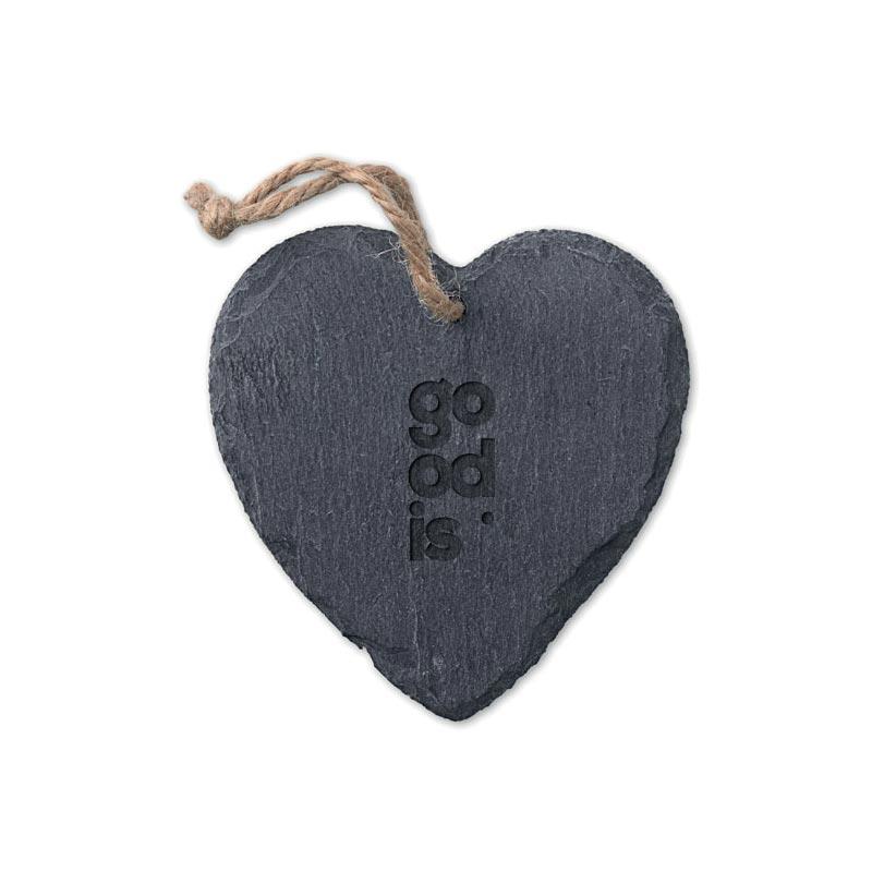 Cadeau personnalisé - Suspension ardoise coeur Slateheart