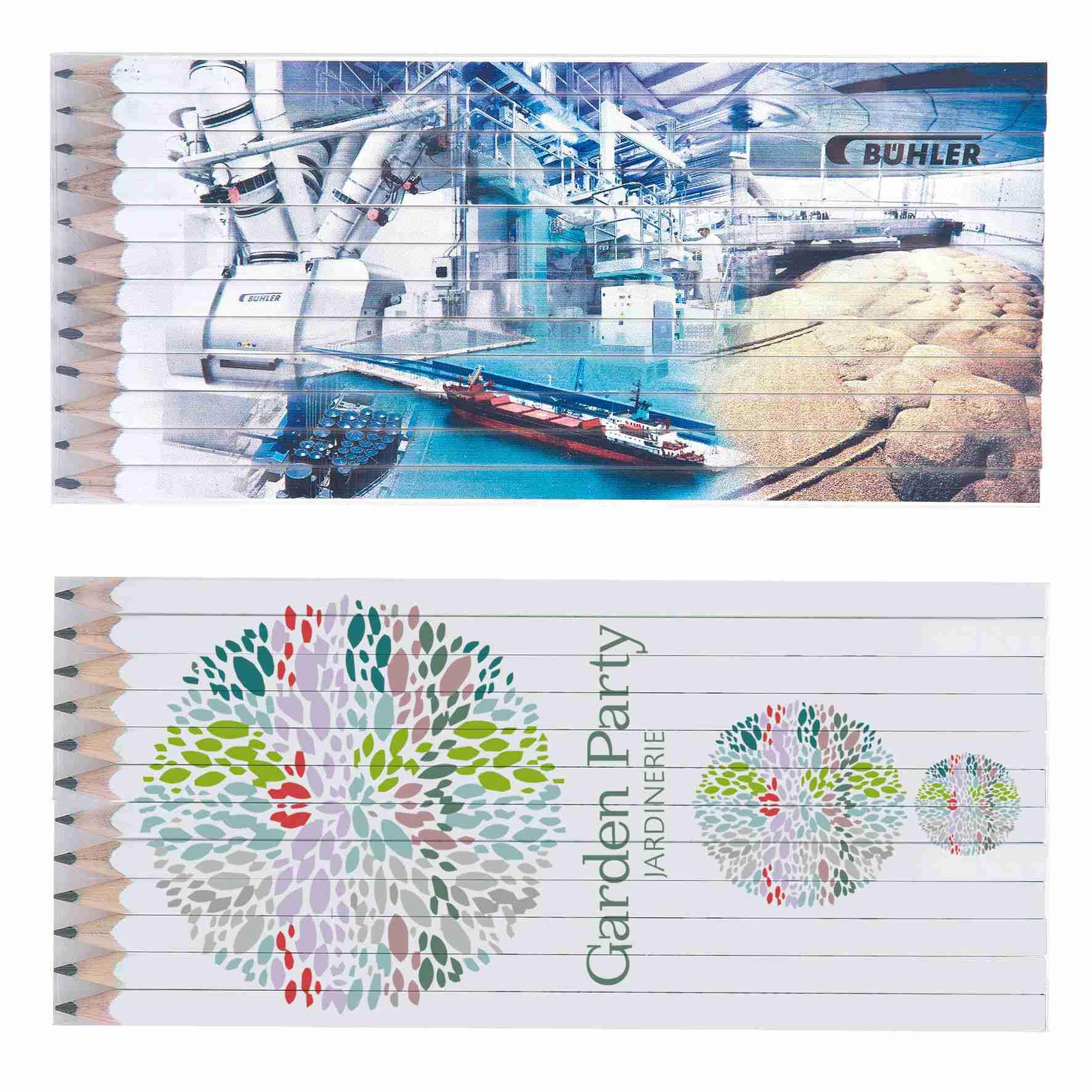 Cadeau publicitaire écologique - Set Quadri 12 crayons publicitaires Graphite 17,6 cm