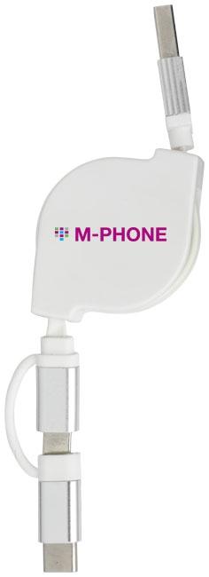 Accessoire publicitaire high-tech - Câble de chargement publicitaire 3 en 1 C One +