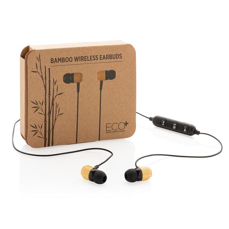 Cadeau d'entreprise écologique - Ecouteurs sans fil en bambou Kali