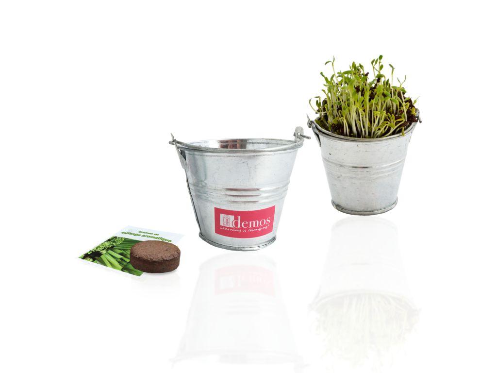 Cadeau publicitaire végétal - Kit de semis publicitaire - mini pot zinc 6cm