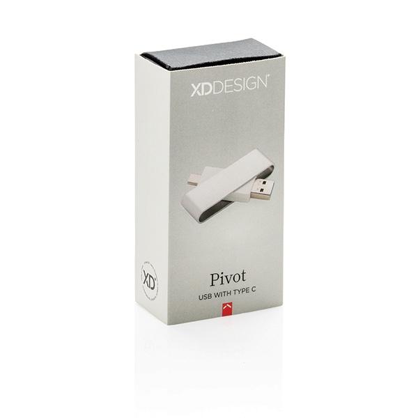 Clé USB personnalisée avec type C Pivot - Cadeau publicitaire