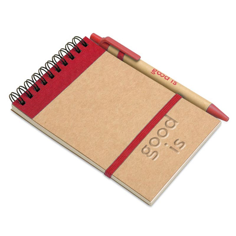 bloc notes recyclé et stylo publicitaire rouge