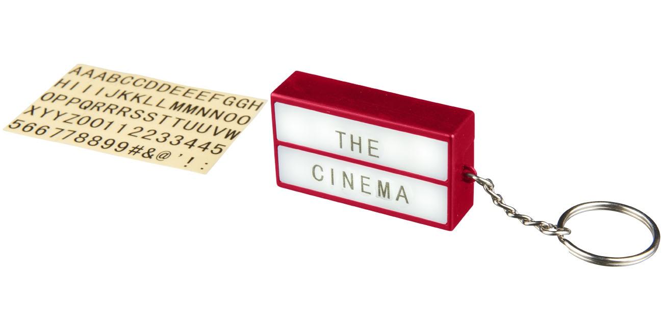 Porte-clés publicitaire lampe Cinéma bleu