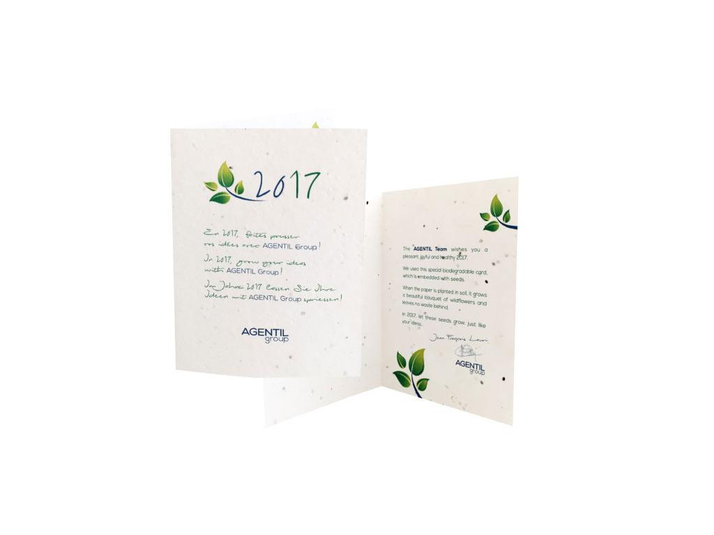 Cadeau d'entreprise de fin d'année - Carte à planter publicitaire biodégradable