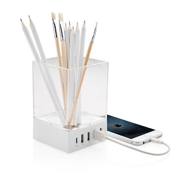 Objet publicitaire - Porte-crayon chargeur publicitaire USB Pennett