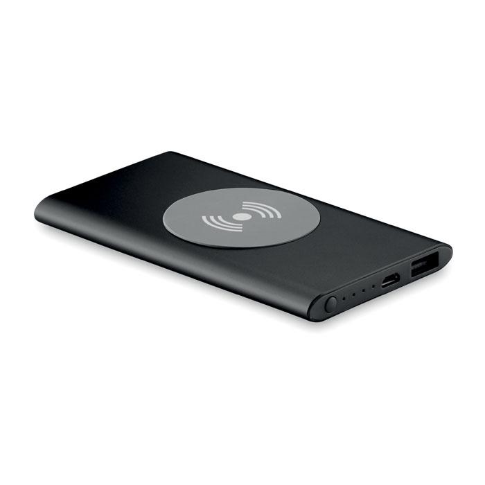 Cadeau entreprise - Powerbank sans fil publicitaire Wireless noir