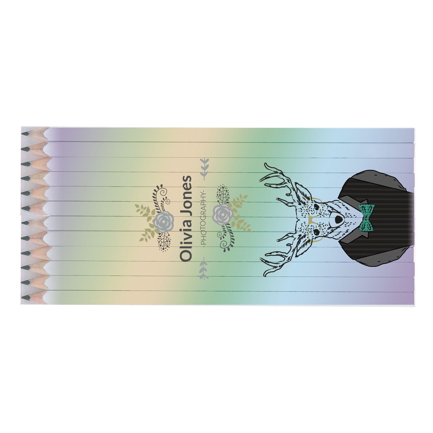 Cadeau d'entreprise écologique - Set Quadri 12 crayons personnalisés Graphite 17,6 cm