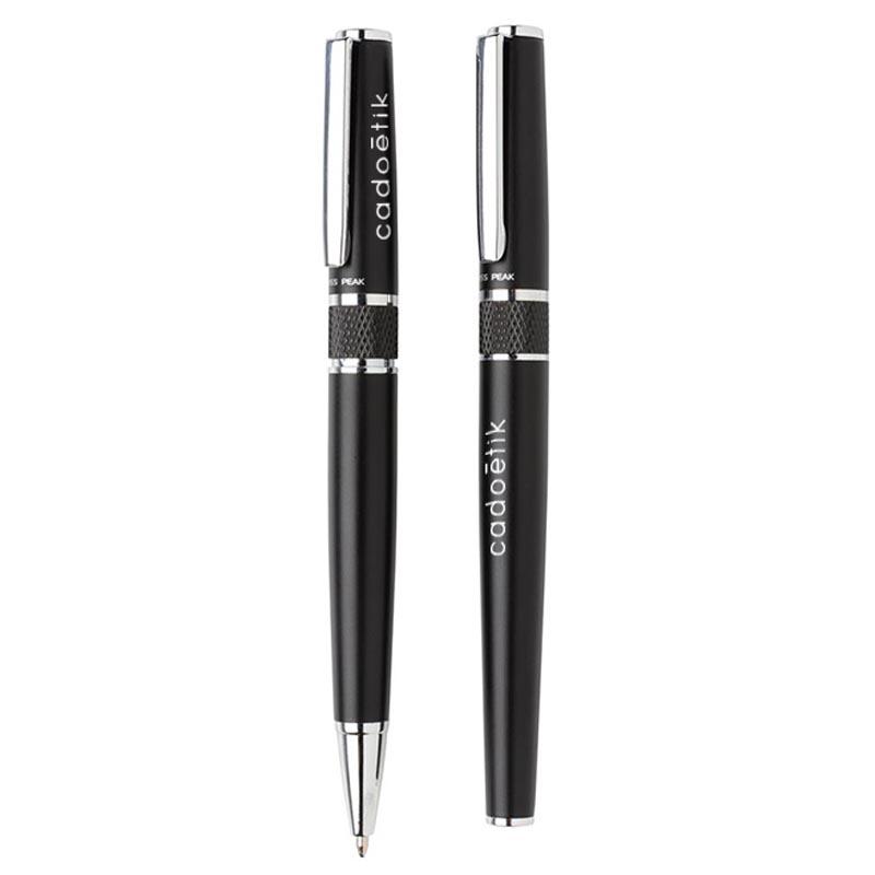 Parure de stylos publicitaires en métal Swiss Peak