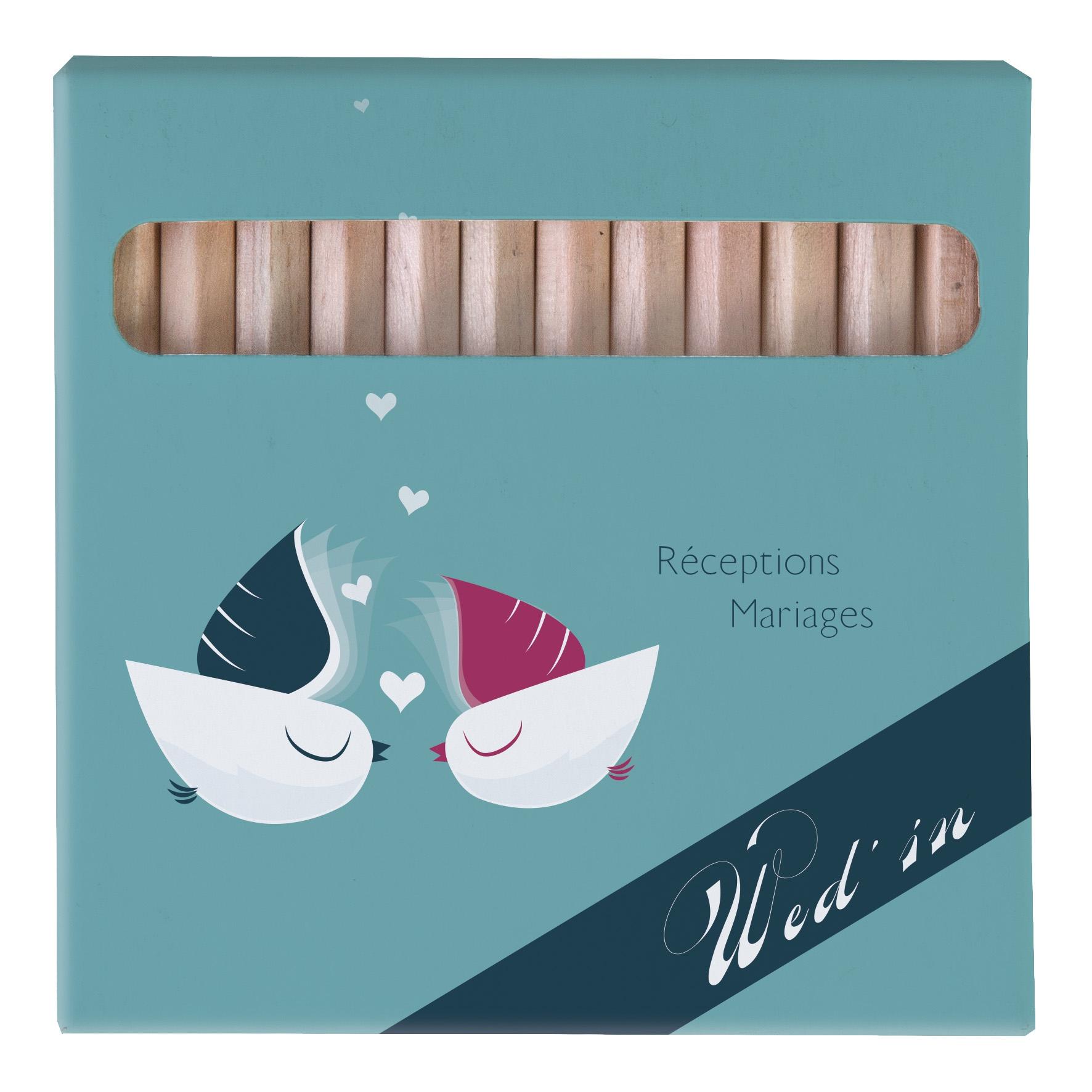 Etui kraft 12 crayons de couleurs publicitaires bois certifié Eco 8,7 - objet publicitaire écologique