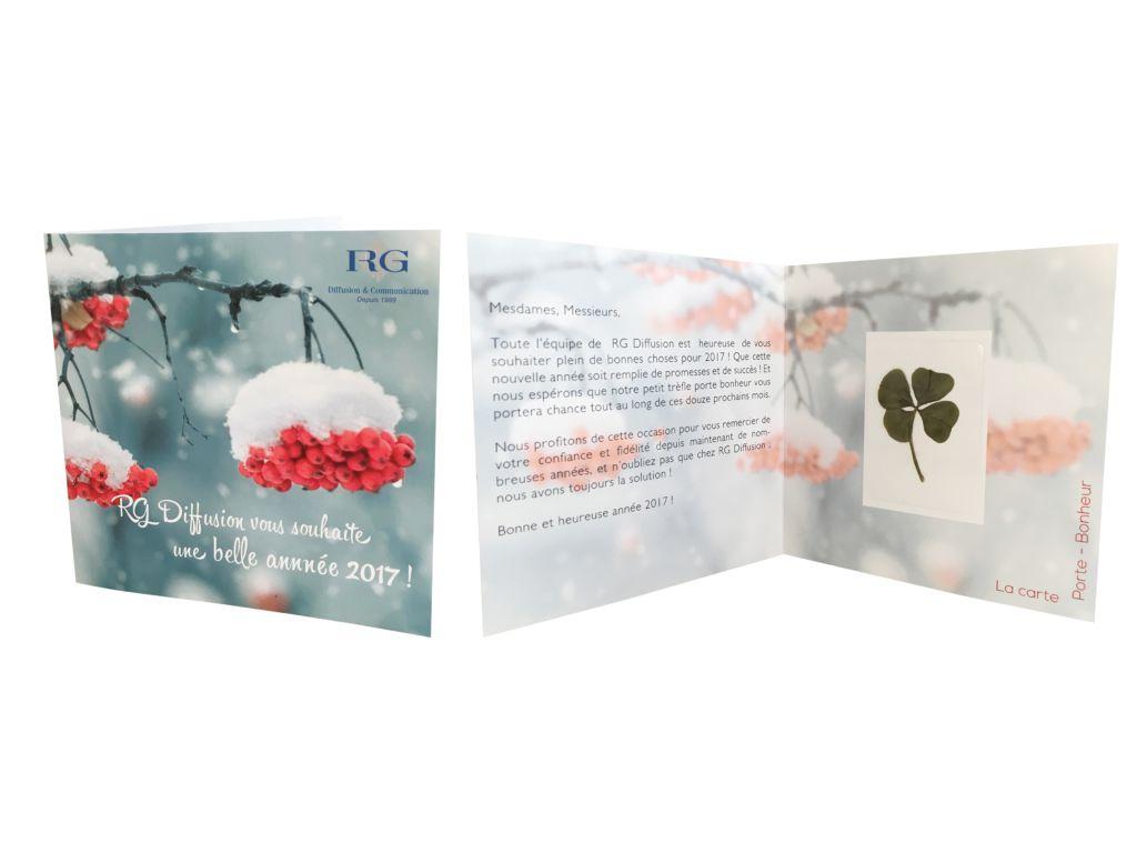 Carte personnalisable Trèfle à 4 feuilles séché - sachet de graines publicitaire