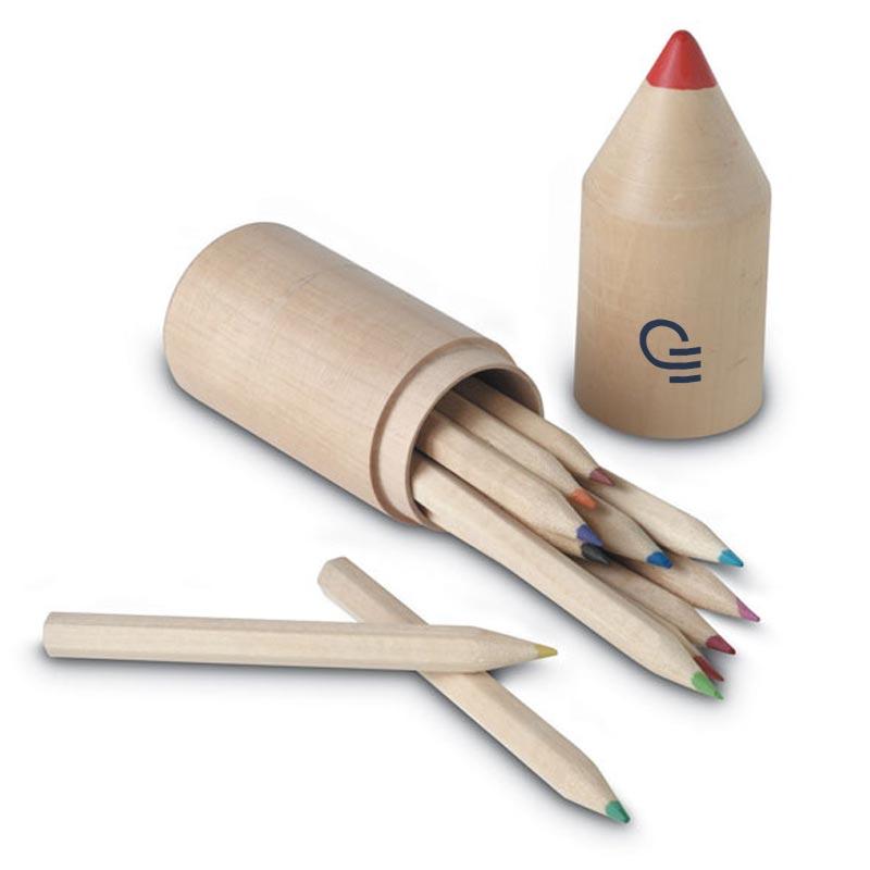 Kit de 12 crayons de couleur publicitaires avec logo