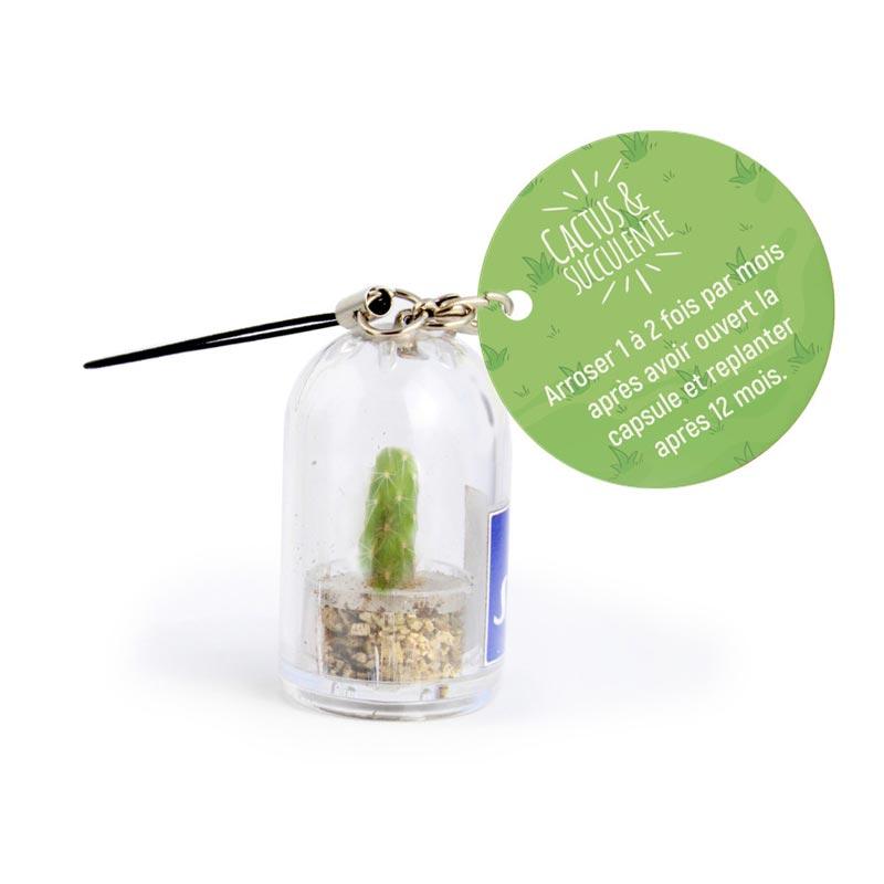 Porte-clés publicitaire avec mini plante en terrarium
